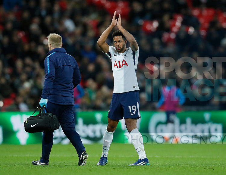 Mousa Dembele of Tottenham applauds the crowd as he leaves the game injured during the premier league match at Wembley Stadium, London. Picture date 30th April 2018. Picture credit should read: David Klein/Sportimage