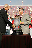 14 October 2006: Bob Bowlsby celebrates the Director's Cup win during Stanford's 20-7 loss to Arizona during Homecoming at Stanford Stadium in Stanford, CA.