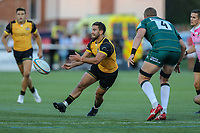 Luke Carter of Ealing Trailfinders passes the ball during the Greene King IPA Championship match between Ealing Trailfinders and London Irish Rugby Football Club  at Castle Bar, West Ealing, England  on 1 September 2018. Photo by David Horn.