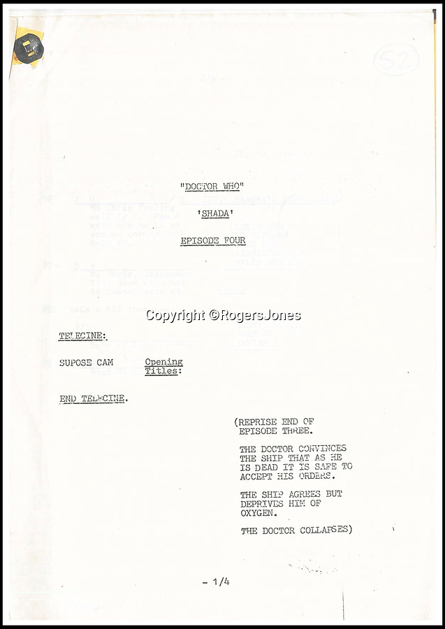 BNPS.co.uk (01202 558833)Pic: RogersJones/BNPS<br /> <br /> Director Pennant Roberts annotated the scripts.<br /> <br /> The unique directors scripts from the 'lost' Doctor Who series that never aired almost 40 years ago is expected to get fans of the Time Lord excited when they go under the hammer.<br /> <br /> The unique papers are from the 1979 Shada story - written by Hitchhiker's Guide to the Galaxy author Douglas Adams and starring Tom Baker as the Doctor - which was left unfinished because of BBC strikes.<br /> <br /> The scripts, which have pencil-scribbled notes by the director Pennant Roberts, are being sold for charity by his widow, Betsan Roberts, in aid of Shelter Cymru.<br /> <br /> They will be sold by Rogers Jones Co auctioneers in Cardiff, Glamorgan, on March 2 and are expected to fetch at least £400.