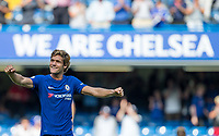 Marcos Alonso of Chelsea celebrates at full time during the Premier League match between Chelsea and Everton at Stamford Bridge, London, England on 27 August 2017. Photo by Andy Rowland.