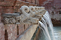 Kathmandu, Nepal.  Traditional Waterspouts, or Fountains (Hitis).  These are at Dwarika's Hotel, one of Kathmandu's finest and most interesting hotels, where thousands of original Newari door and window wood carvings have been incorporated into the hotel's design.