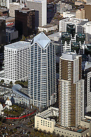 aerial above downtown San Diego California One America office tower and trolley station