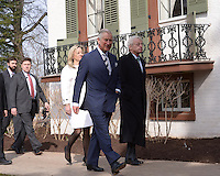 Washington, DC - March 19, 2015: His Royal Highness The Prince of Wales, accompanied by Lester Fant III, Chairman of the Lincoln Cottage Site COunsel and his wife Susan, tours the Abraham Lincoln Cottage and Soldiers Home in the District of Columbia, March 19, 2015, as part of a four-day USA visit. Prince Charles has officially visited the United States 19 times since 1970. (Photo by Don Baxter/Media Images International)
