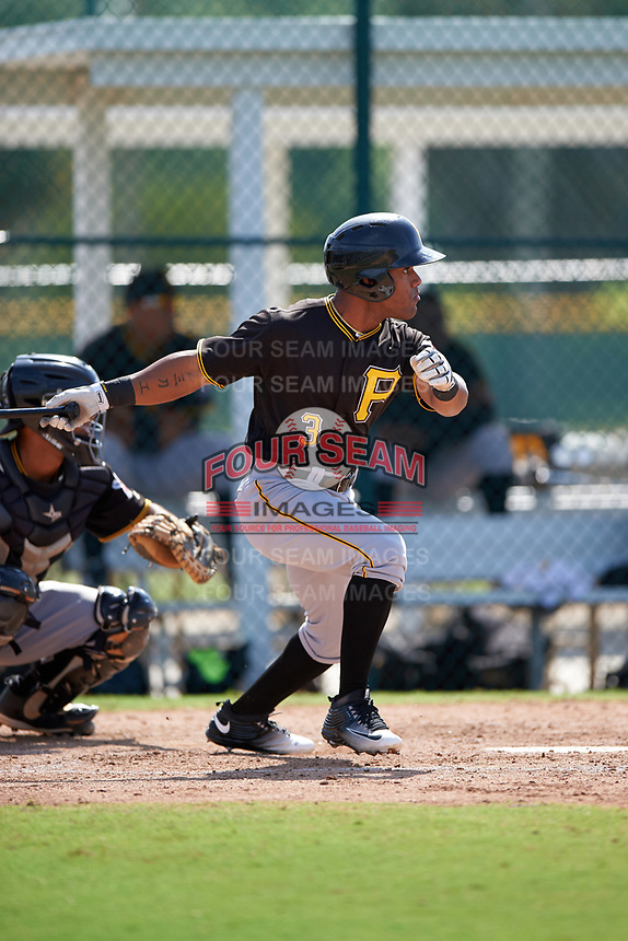 Pittsburgh Pirates Elvis Escobar (3) during a minor league Spring Training intrasquad game on April 3, 2016 at Pirate City in Bradenton, Florida.  (Mike Janes/Four Seam Images)