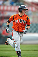 Bowie Baysox catcher Chance Sisco (12) runs to first during a game against the Erie SeaWolves on May 12, 2016 at Jerry Uht Park in Erie, Pennsylvania.  Bowie defeated Erie 6-5.  (Mike Janes/Four Seam Images)