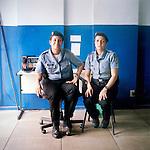 Police officers Marceba Gomes, 29, left, and Ana Carolina Braz, 32, right.<br /> Administration<br /> Pacifying Police Unit<br /> Complexo do Caju, Rio de Janeiro, Brazil