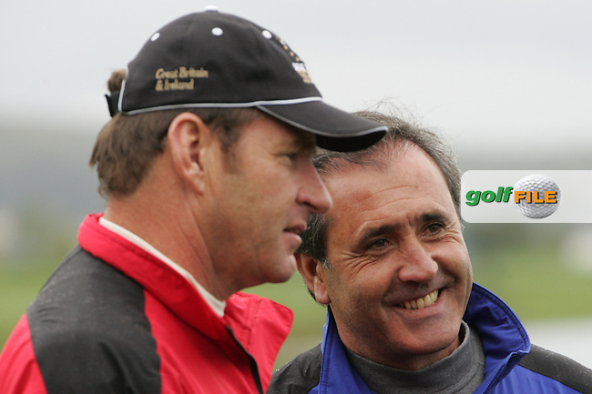 Nick Faldo and Seve at Friday Fourball's at the Seve Trophy on the 28th of September 2007 at the The Heritage Golf & Spa Resort, Killenard, Co Laois, Ireland. (Photo by Manus O'Reilly/NEWSFILE)