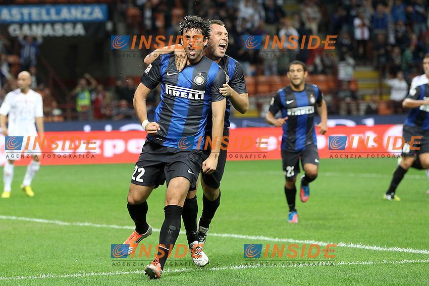 """Esultanza Diego Milito Antonio Cassano Inter.Goal celebration.Milano 30/09/2012 Stadio """"San Siro"""".Football Calcio Serie A 2012/13.Inter v Fiorentina.Foto Insidefoto Paolo Nucci."""