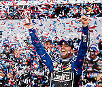 Jimmie Johnson celebrates winning the 55th Daytona 500 in his #48 Lowe's Chevrolet at Daytona International Speedway in Daytona Beach, Florida February 24, 2013.