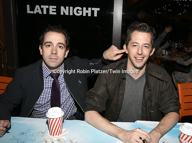 Rob McClure and  Josh Grisetti attends the Broadway Cares/Equity Fights Aids Flea Market and Grand Auction on September 25, 2016 at the Music Box Theatre and in Shubert Ally in New York, New York, USA. <br /> <br /> photo by Robin Platzer/Twin Images<br />  <br /> phone number 212-935-0770