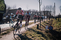 Tiesj Benoot (BEL/Lotto-Soudal) avoiding the Varent cobbles<br /> <br /> 70th Kuurne-Brussel-Kuurne 2018<br /> Kuurne › Kuurne: 200km (BELGIUM)