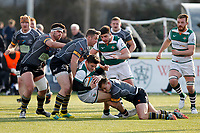 Seb Stegman of Ealing Trailfinders is tackled during the Championship Cup Quarter Final match between Ealing Trailfinders and Nottingham Rugby at Castle Bar , West Ealing , England  on 2 February 2019. Photo by Carlton Myrie / PRiME Media Images.