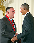 United States President Barack Obama presents the 2015 National Humanities Medal to José Andrés, Chef & Entrepreneur of Bethesda, Maryland, during a ceremony in the East Room of the White House in Washington, DC on Thursday, September 22, 2016.<br /> Credit: Ron Sachs / CNP