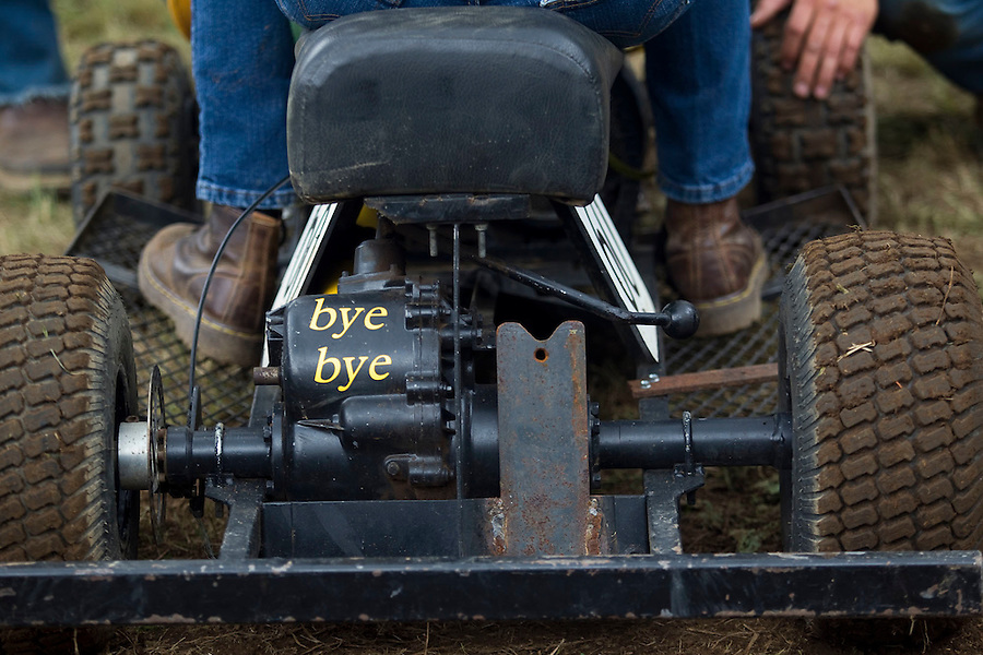 "A detail on a lawn mower raced by Courtney Nicholson at the annual ""Territorial Days"" festival in Amboy Sunday July 10, 2016. Other events during the celebration included a logging show, musical performances, an art show and a carnival. The celebration highlights the area's connection to logging and pioneering. (Photo by Natalie Behring/ for the The Columbian)"