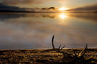 Sunrise over Naknek lake, Katmai National Park, Alaska.