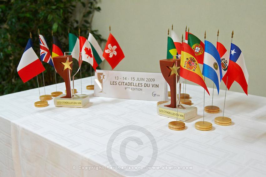 flags wine competition Les Citadelles du Vin  bourg bordeaux france