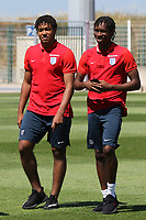 Reece James and Tariq Ukakwe of Chelsea and England pre-match during England Under-18 vs Scotland Under-20, Toulon Tournament Semi-Final Football at Stade Parsemain on 8th June 2017