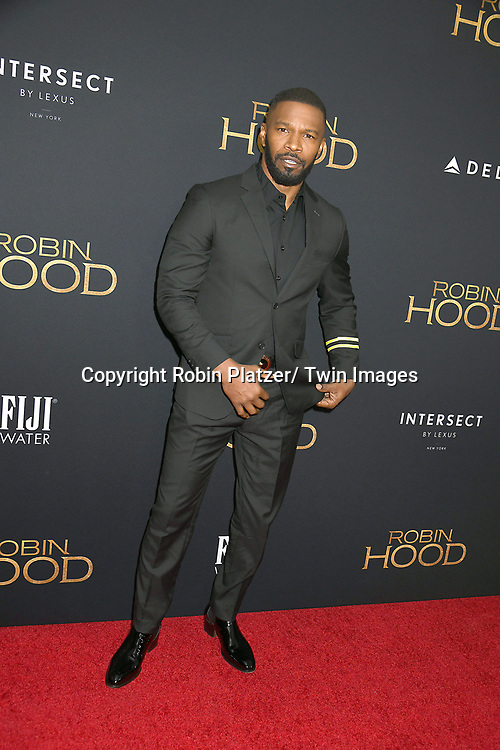 "actor Jamie Foxx attends the New York Special Screening of ""Robin Hood"" on November 11, 2018 at AMC Lincoln Square in New York, New York, USA.<br /> <br /> photo by Robin Platzer/Twin Images<br />  <br /> phone number 212-935-0770"