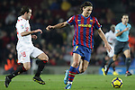 Football Season 2009-2010. Barcelona's player Zlatan Ibrahimovic and Sevilla's Fernando Navarro during their spanish liga soccer match at Camp Nou stadium in Barcelona. January 16, 2010.
