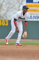 Cedar Rapids Kernels shortstop Jermaine Palacios (4) in action during a game against the Beloit Snappers at Veterans Memorial Stadium on April 9, 2017 in Cedar Rapids, Iowa.  The Kernels won 6-1.  (Dennis Hubbard/Four Seam Images)