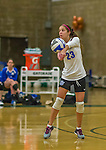 1 November 2015: Yeshiva University Maccabee Defensive Specialist and Outside Hitter Carol Jacobson, a Senior from Seattle, WA, bumps against the Saint Joseph College Bears at SUNY Old Westbury in Old Westbury, NY. The Bears shut out the Maccabees 3-0 in NCAA women's volleyball, Skyline Conference play. Mandatory Credit: Ed Wolfstein Photo *** RAW (NEF) Image File Available ***