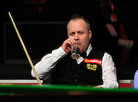 John Higgins takes a sip of water during the Dafabet Masters Q/F 4 match between John Higgins and Stuart Bingham at Alexandra Palace, London, England on 15 January 2016. Photo by Liam Smith / PRiME Media Images