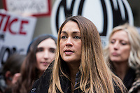 NEW YORK, NEW YORK - JANUARY 6: Dominique Huett, center, speaks with members of the media after Harvey Weinstein arrives at the Manhattan courthouse. On January 6, 2020 in New York City. Weinstein pleaded not guilty to five counts of rape and faces a possible life sentence in prison. (Photo by Pablo Monsalve / VIEWpress)