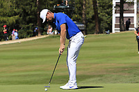 Lucas Bjerregaard (DEN) putts on the 5th green during Sunday's Final Round 4 of the 2018 Omega European Masters, held at the Golf Club Crans-Sur-Sierre, Crans Montana, Switzerland. 9th September 2018.<br /> Picture: Eoin Clarke | Golffile<br /> <br /> <br /> All photos usage must carry mandatory copyright credit (© Golffile | Eoin Clarke)