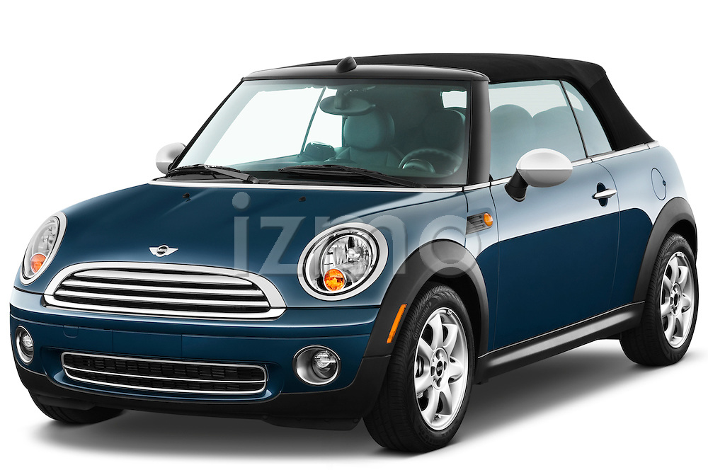 Front three quarter view of a 2010 Mini Cooper Convertible.