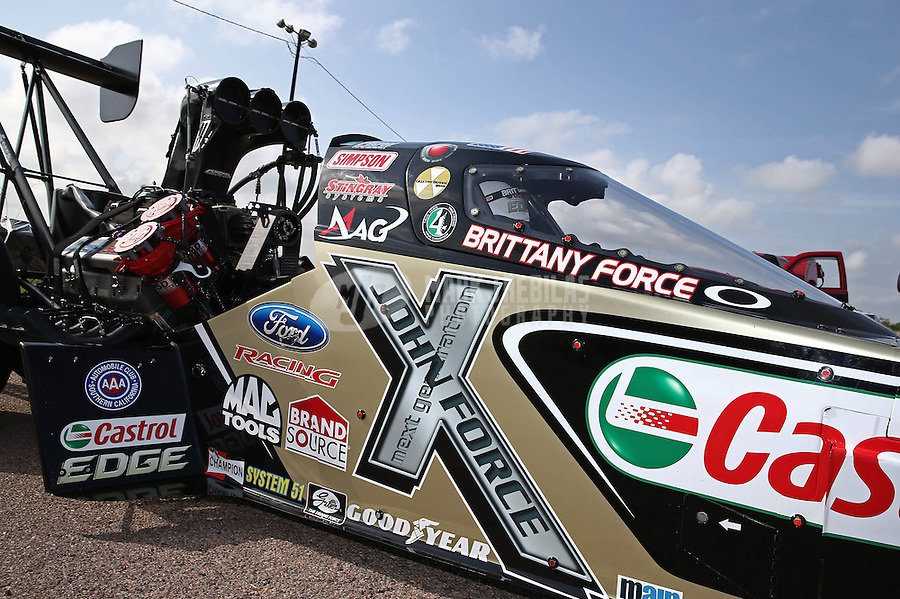 Apr. 26, 2013; Baytown, TX, USA: NHRA top fuel dragster driver Brittany Force during qualifying for the Spring Nationals at Royal Purple Raceway. Mandatory Credit: Mark J. Rebilas-