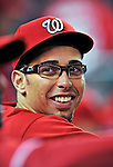 23 April 2010: Washington Nationals' starting pitcher Luis Atilano goofs around in the dugout after making his Major League debut, pitching six innings and allowing one run on five hits in a 5-1 win over the Los Angeles Dodgers at Nationals Park in Washington, DC. Mandatory Credit: Ed Wolfstein Photo