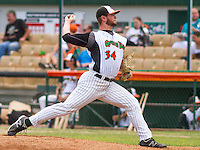 GREEN BAY - June 2015: Green Bay Bullfrogs pitcher Parker Hamilton (34) during a Northwoods League game against the Kenosha Kingfish on June 21st, 2015 at Joannes Park in Green Bay, Wisconsin. Green Bay defeated Kenosha 10-7. (Brad Krause/Krause Sports Photography)