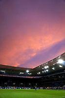 09.09.2017,  Football 1.Liga 2017/2018, 3. match day, TSG 1899 Hoffenheim - FC Bayern Muenchen, in WIRSOL Rhein-Neckar-Arena Sinsheim, Leuchtender Sonnenuntergang ueber dem stadium.  *** Local Caption *** © pixathlon<br /> <br /> +++ NED + SUI out !!! +++<br /> Contact: +49-40-22 63 02 60 , info@pixathlon.de