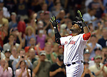 Boston Red Sox designated hitter David Ortiz celebrates after hitting a three-run homer for career home run number 498 during the third inning a Major League Baseball game against the Toronto Blue Jays at Fenway Park in Boston on Wednesday, September 09, 2015. Photo by Christopher Evans