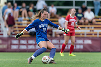 NEWTON, MA - AUGUST 29: Morgan Messner of Boston University clears the ball during a game between Boston University and Boston College at Newton Campus Field on August 29, 2019 in Newton, Massachusetts.