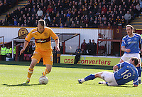 Henrik Ojamaa controls the ball to score in the Motherwell v St Johnstone Clydesdale Bank Scottish Premier League match played at Fir Park, Motherwell on 28.4.12.