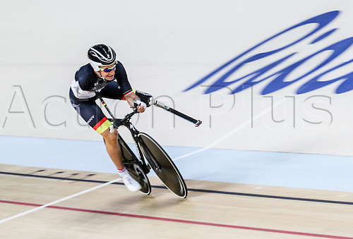 09.09.2016. Rio de Janeiro, Brazil.  Cyclist Erich Winkler of Germany competes in the Cycling Track - Men's C1 3000M Individual Pursuit Qualification of the Rio 2016 Paralympic Games, Rio de Janeiro, Brazil, 09 September 2016. Winkler's prothesis broke away from the pedal during his ride. He was allowed by the jury to repeat his heat and qualified  for bronze medal race.