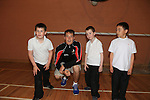 James dockrell Morton <br /> Declan Byrne coach<br /> Nicky roe <br /> Cian mulligan <br /> at the GAA coaching in Collon NS<br /> Picture:  Fran Caffrey / www.newsfile.ie