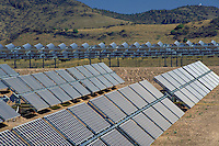 Experimental demonstration project comparing two types of 100 KW photovoltaic solar power systems. West Texas Utilities Solar Park. Fort Davis Texas.