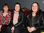 Carmel Kingston, Anette Nevin and Joanne Cunningham pictured at Eugene Donegan's album Launch in the Droichead Atrs Centre. Photo:Colin Bell/pressphotos.ie