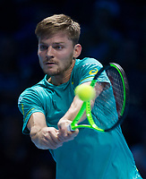 David Goffin of Belgium (7) in action during his victory over Rafael Nadal of Spain (1) in their Group Pete Sampras Match today - Goffin def Nadal 7-6, 6-7, 6-4<br /> <br /> Photographer Ashley Western/CameraSport<br /> <br /> International Tennis - Nitto ATP World Tour Finals - O2 Arena - London - Day 2  - Monday 13th November 2017<br /> <br /> World Copyright &not;&copy; 2017 CameraSport. All rights reserved. 43 Linden Ave. Countesthorpe. Leicester. England. LE8 5PG - Tel: +44 (0) 116 277 4147 - admin@camerasport.com - www.camerasport.com