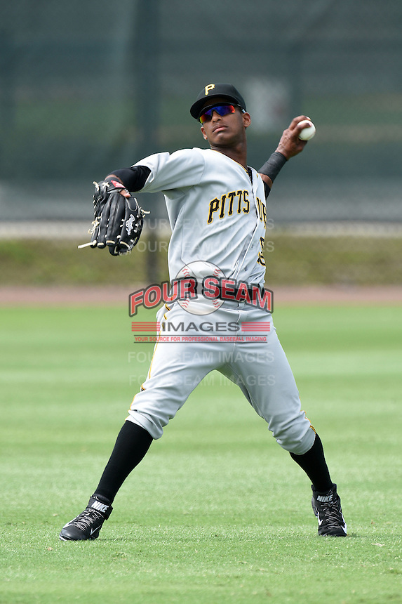 GCL Pirates outfielder Michael De La Cruz (58) during practice before a game against the GCL Phillies on June 26, 2014 at the Carpenter Complex in Clearwater, Florida.  GCL Phillies defeated the GCL Pirates 6-2.  (Mike Janes/Four Seam Images)