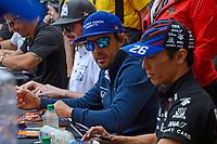 Verizon IndyCar Series<br /> Indianapolis 500 Drivers Meeting<br /> Indianapolis Motor Speedway, Indianapolis, IN USA<br /> Saturday 27 May 2017<br /> Driver's autograph session: JR Hildebrand, Ed Carpenter Racing Chevrolet, Fernando Alonso, McLaren-Honda-Andretti Honda, Takuma Sato, Andretti Autosport Honda.<br /> World Copyright: F. Peirce Williams