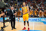 Herbalife Gran Canaria's player Eulis Baez with the championship award during the final of Supercopa of Liga Endesa Madrid. September 24, Spain. 2016. (ALTERPHOTOS/BorjaB.Hojas)