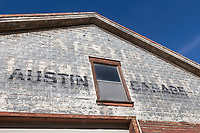 Facade and signage for the historic Austin Garage in Austin, Nevada