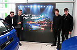 The Sherlocks with some of the staff at the Skoda dealership on Penistone Road in Sheffield with the pop up from their appearence on a recent Skoda ad, Sheffield, United Kingdom, 10th October 2019. Photo by Glenn Ashley.