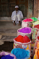 The powder for use during the Holi festval for sale in Bikaner Rajasthan India