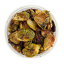 Roasted Brussels sprouts in a takeout container to enjoy at home