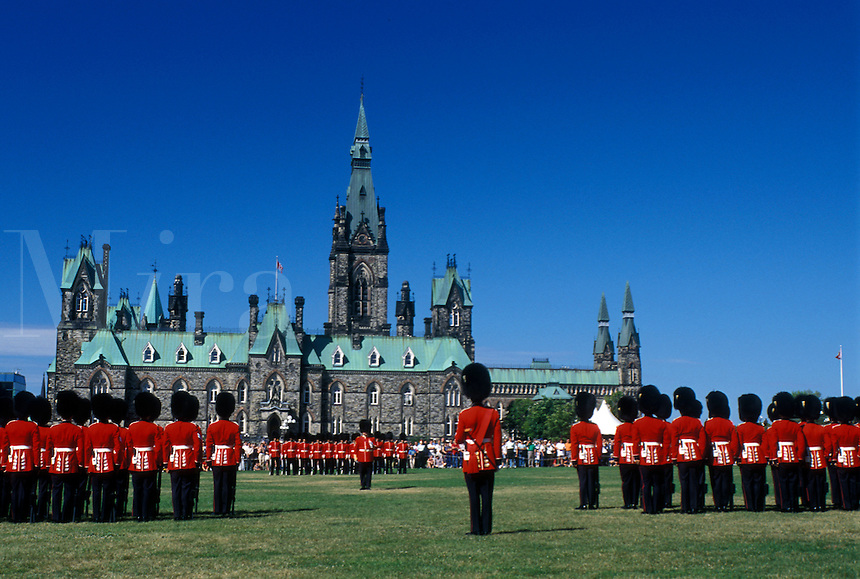 Ottawa, Ontario, Canada, Changing of the Guard on the lawn of Parliament Hill.